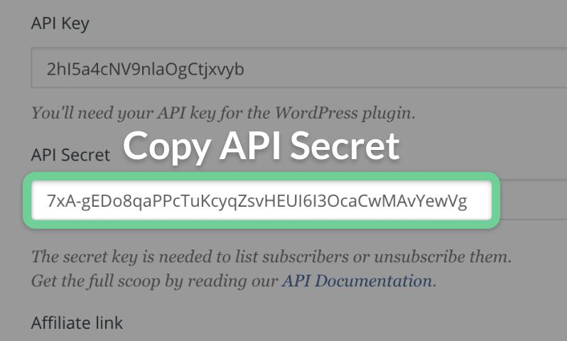 API Secret within ConvertKit highlighted